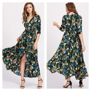 Tassel Tie Button Up Tropical Casual Maxi Dress